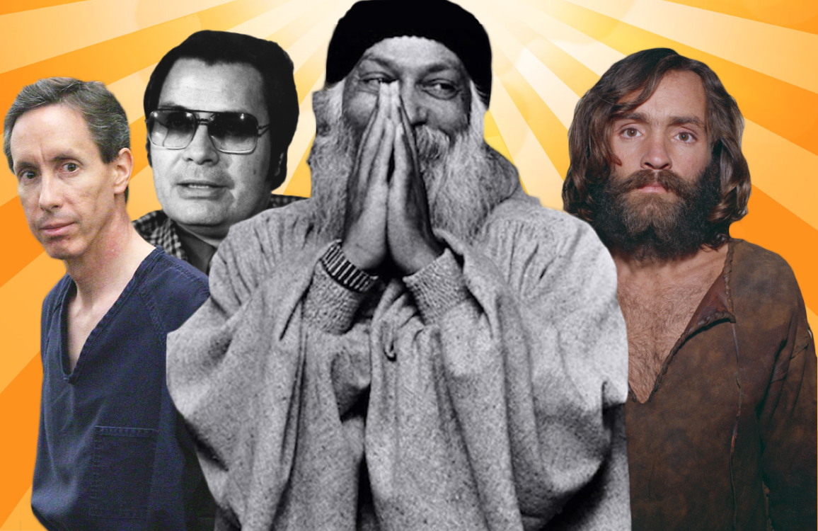 Warren Jeffs, Jim Jones, the Bhagwan Shree Rajneesh, and Charles Manson have all been the subjects of exceptional cult-focused docs and films. (Photos: Showtime, PBS, Netflix, Epix)