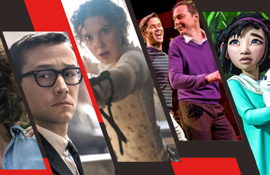 Joseph Gordon-Levitt in The Trial of the Chicago 7, Millie Bobby Brown in Enola Holmes, Andrew Rannells and Jim Parsons in The Boys in the Band Over the Moon. ,