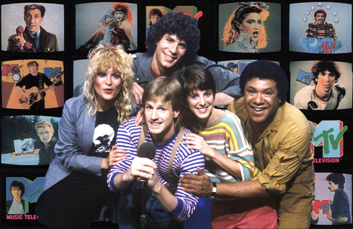 Original MTV VJs Nina Blackwood, Mark Goodman, Alan Hunter, Martha Quinn, and JJ Jackson.
