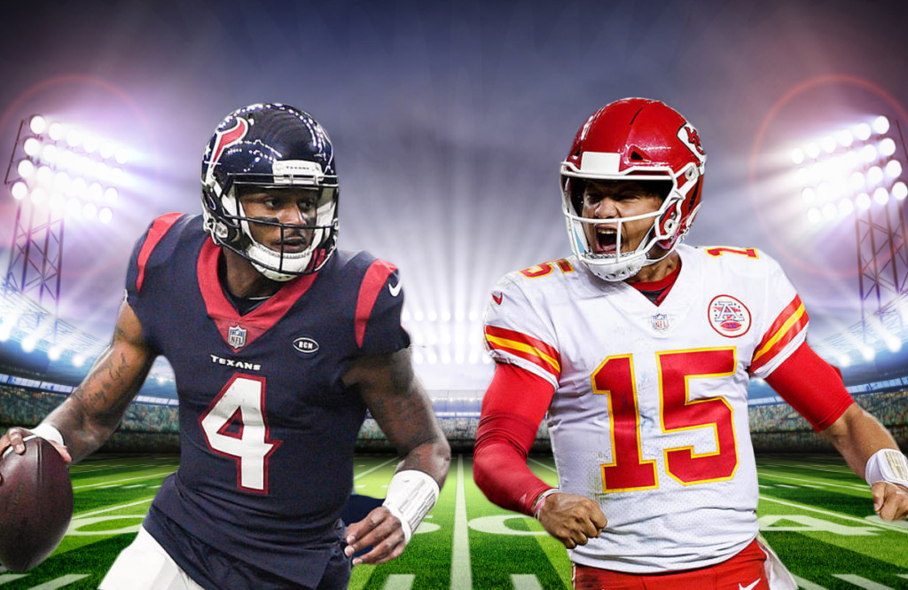 Deshaun Watson and the Texans take on Patrick Mahomes and the Chiefs tonight from Kansas City.