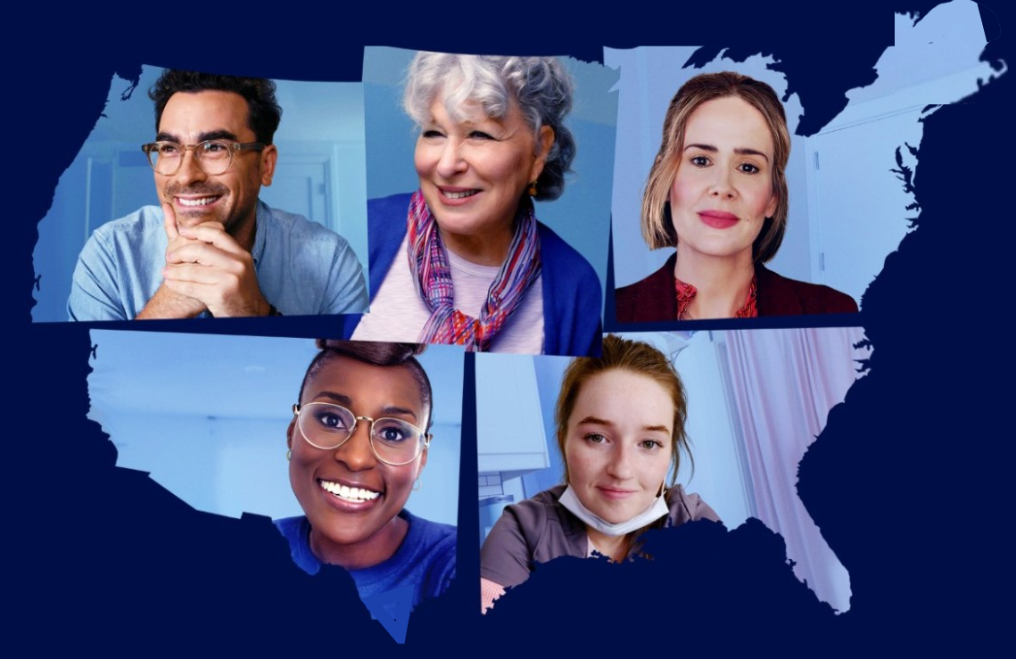 Dan Levy, Bette Midler, Sarah Paulson, Issa Rae and Kaitlyn Dever headline Coastal Elites. (HBO)