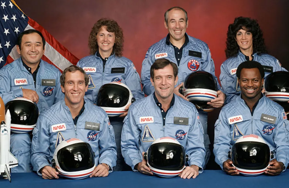 Ellison S. Onizuka, Mike Smith, Christa McAuliffe, Dick Scobee, Gregory Jarvis, Judith Resnik, and Ronald McNair. (NASA)