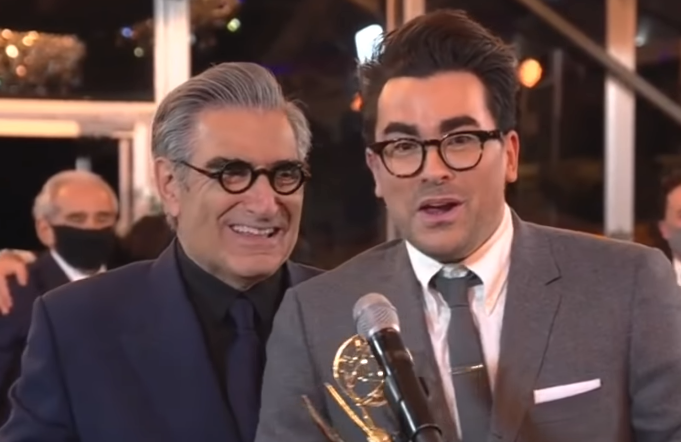 Eugene and Dan Levy accept the Emmy for Outstanding Comedy Series at Sunday night's Emmy Awards. (ABC)