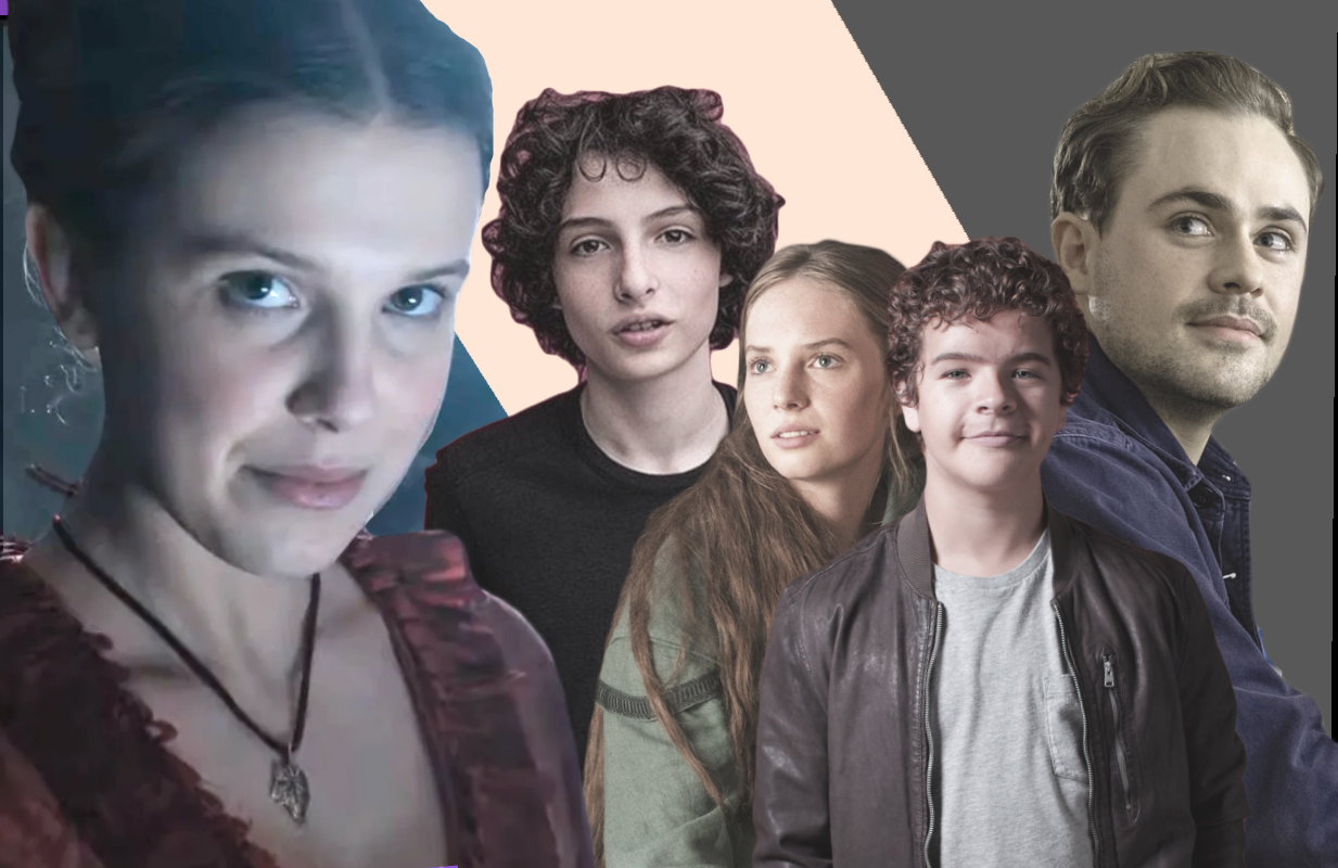 From left to right: Millie Bobby Brown, Finn Wolfhard, Maya Hawke, Gaten Matarazzo and Dacre Montgomery.