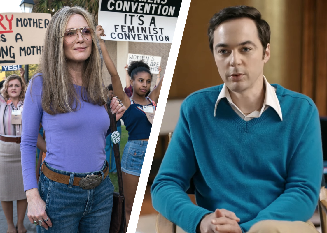Julianne Moore in The Glorias, Jim Parsons in The Boys in the Band. (Photos: Amazon/Netflix)