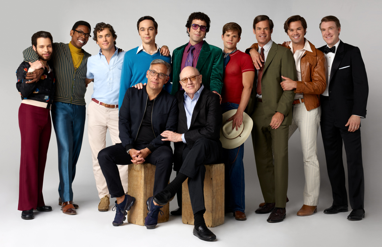 The cast of The Boys in the Band with director Joe Mantello and playwright Mart Crowley. (Photo: Brian Bowen Smith/Netflix)