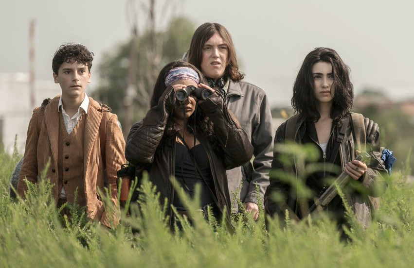 Nicolas Cantu, Aliyah Royale, Hal Cumpston and Alexa Mansour in The Walking Dead: World Beyond. (AMC)