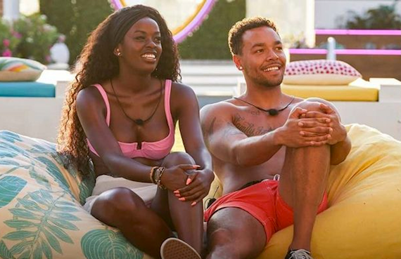 Justine Ndiba and Caleb Corprew on Love Island. (CBS)