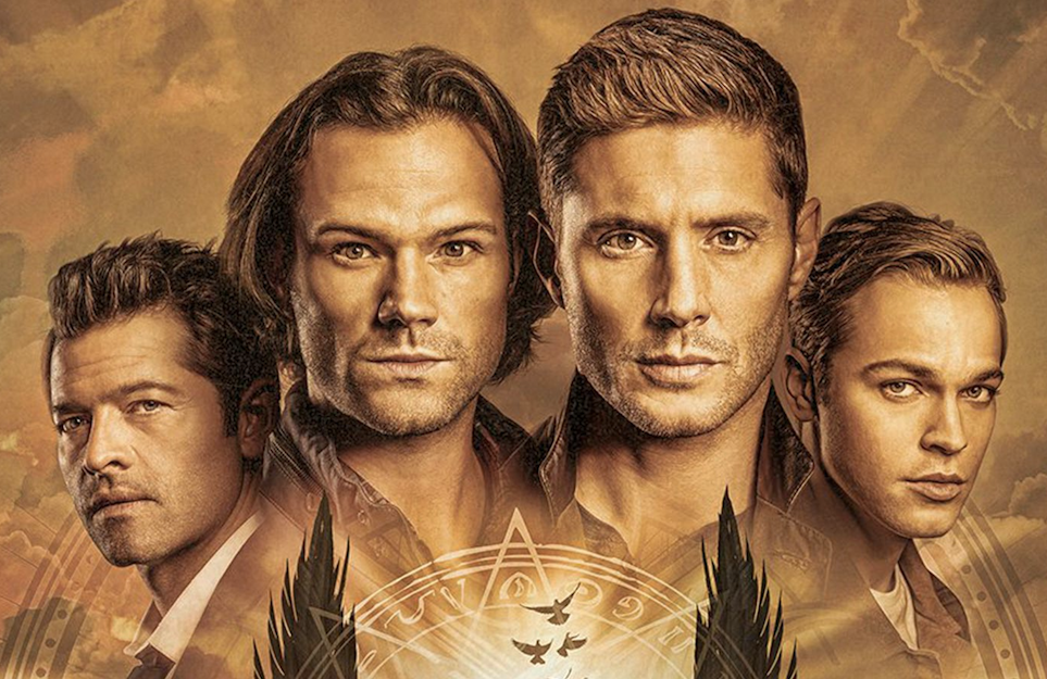 Misha Collins, Jared Padalecki, Jenen Ackles, and Alexander Calvert in Supernatural. (The CW)