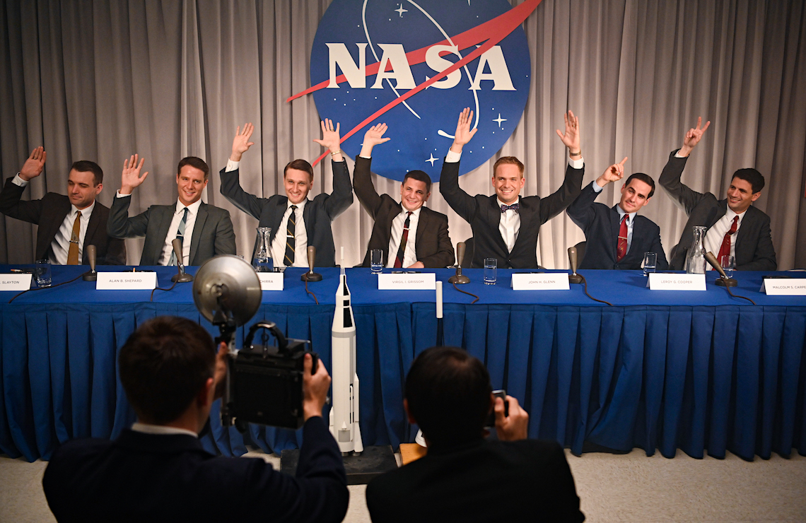 L to R: Micah Stock as Deke Slayton, Jake McDorman as Alan Shepard, Aaron Staton as Wally Schirra, Michael Trotter as Gus Grissom, Patrick J. Adams as John Glenn, Colin O'Donoghue as Gordon Cooper and James Lafferty as Scott Carpenter in The Right Suff. (Photo: Disney+)