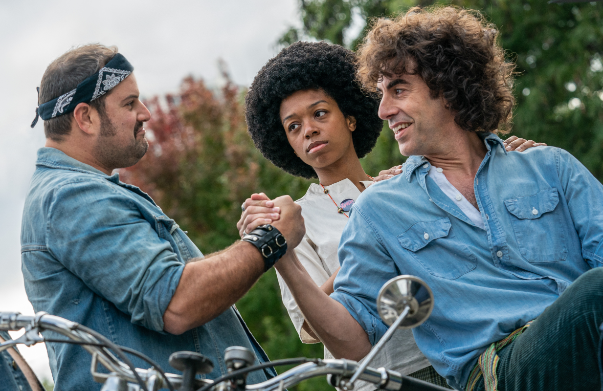 Sacha Baron Cohen is Abbie Hoffman in The Trial of the Chiacho 7. (Photo: Niko Tavernise/Netflix)