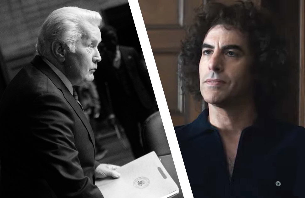 Martin Sheen in A West Wing Special and Sacha Baron Cohen in The Trial of the Chicago 7. (Photos: HBO Max/Netflix)