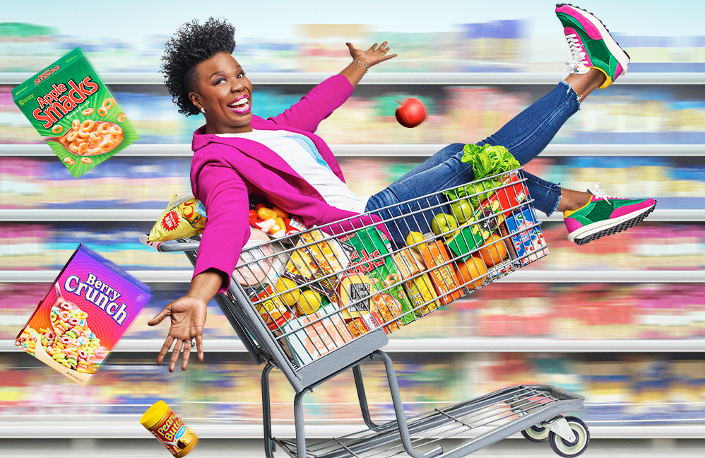 Leslie Jones in a promotional image for Supermarket Sweep. (Photo: Peggy Sirota/ABC)