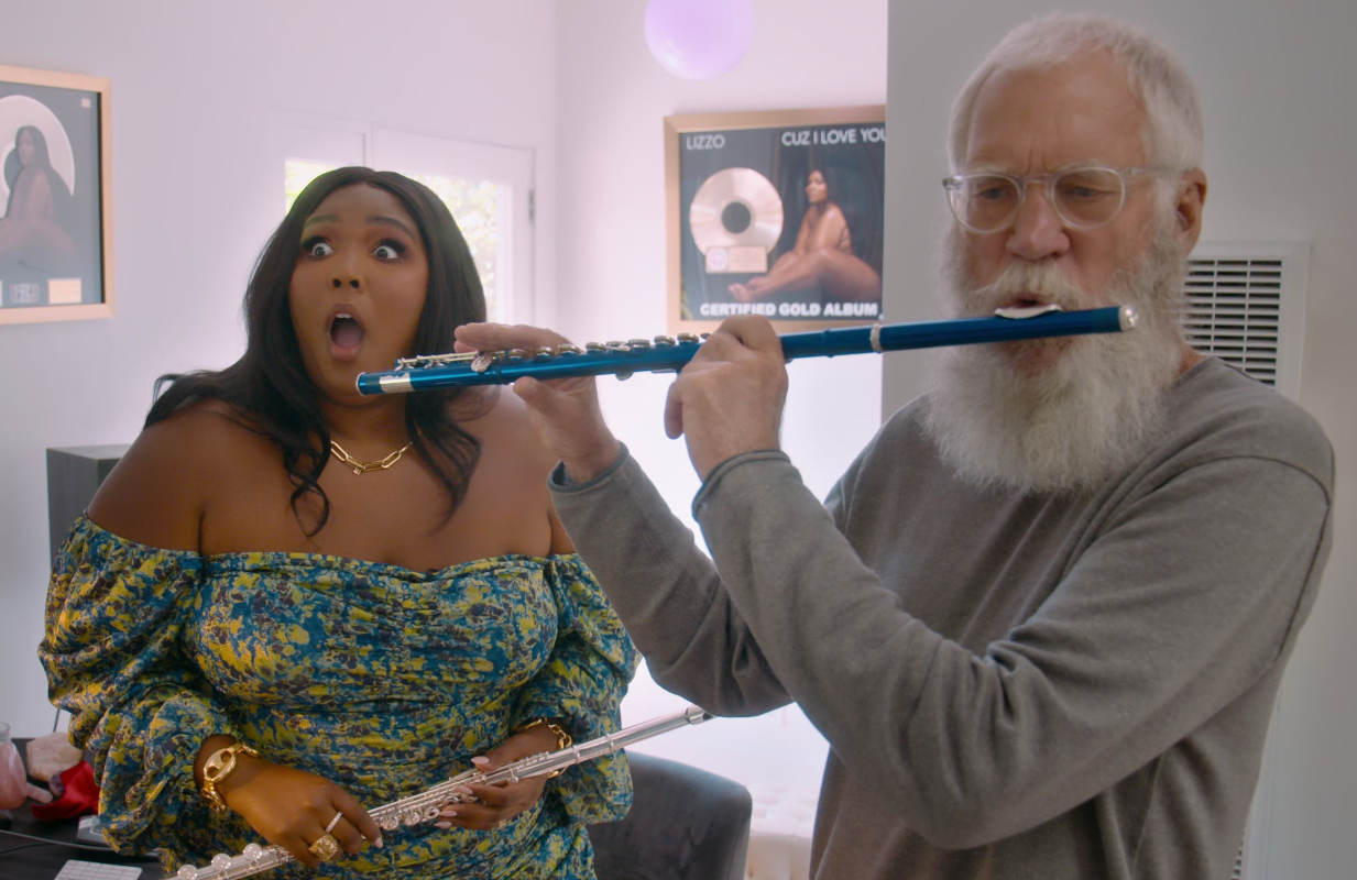 David Letterman with Lizzo. Is anyone enjoying their retirement more? (Photo: Netflix)