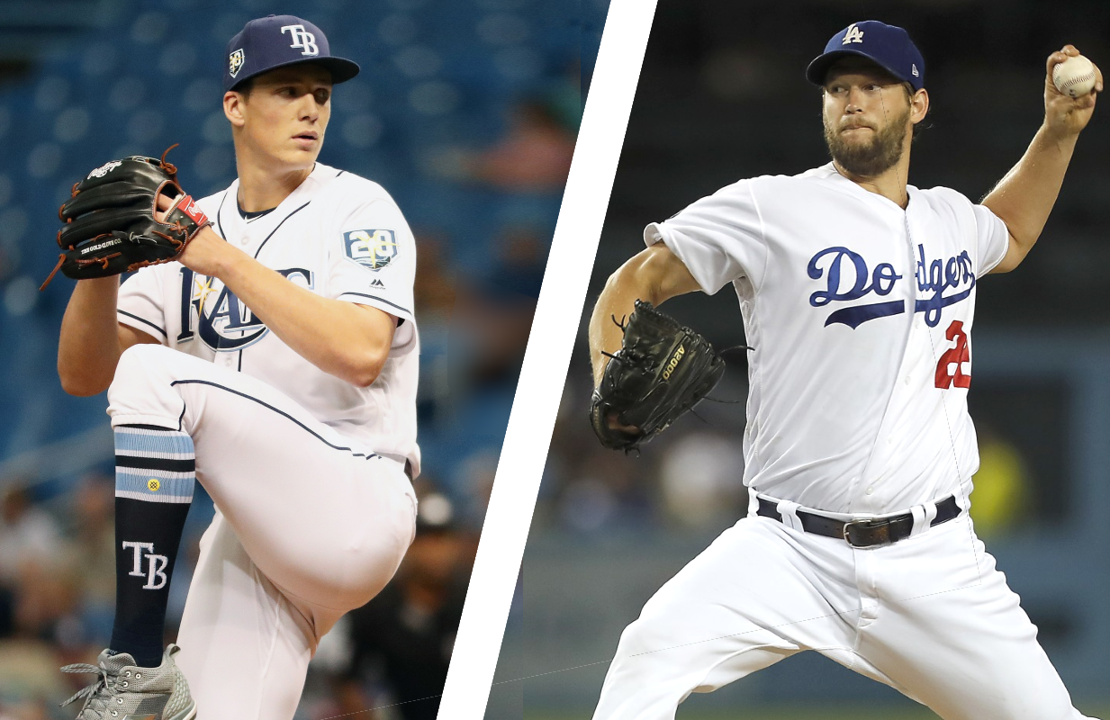 Game 1 starting pitchers Tyler Glasnow of the Tampa Bay Rays and Clayton Kershaw of the Los Angeles Dodgers.