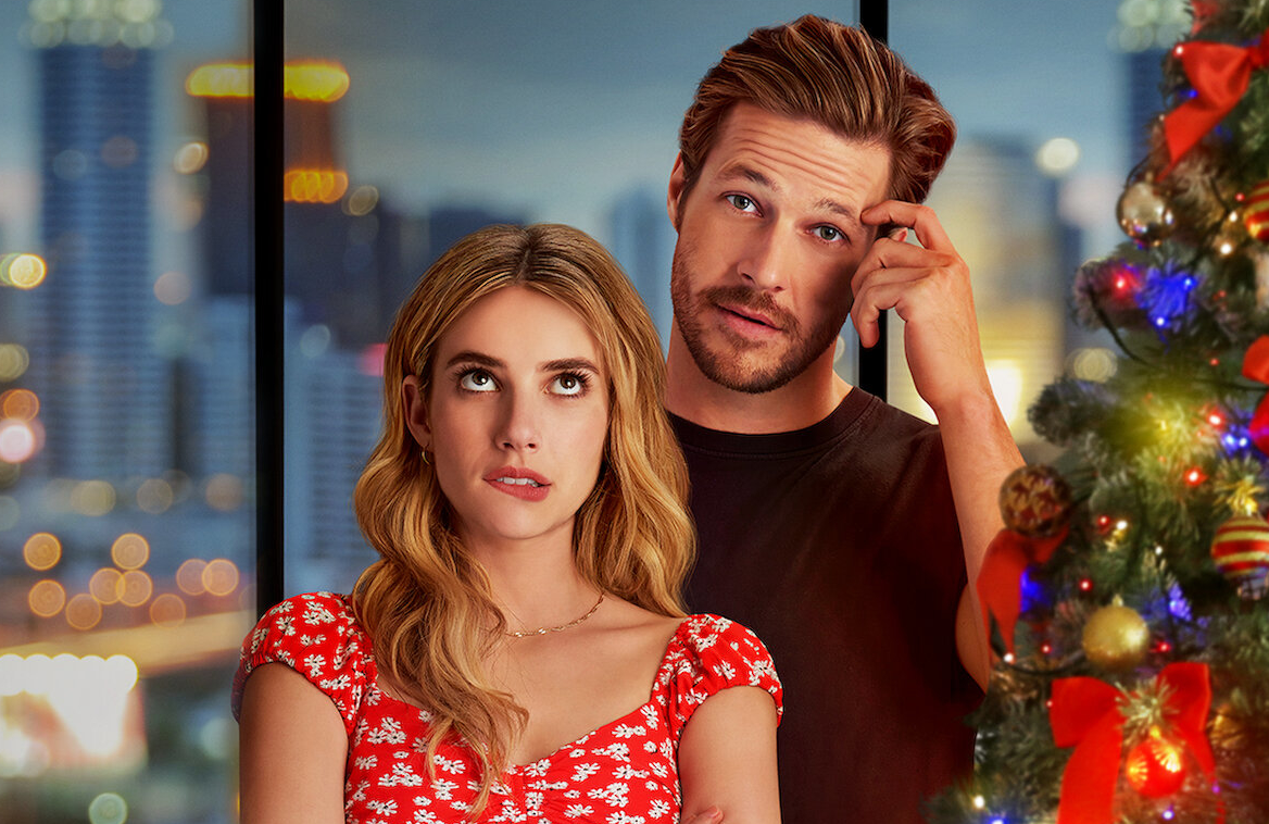 Emma Roberts and Luke Bracey star in the new Netflix rom-com Holidate. (Netflix)