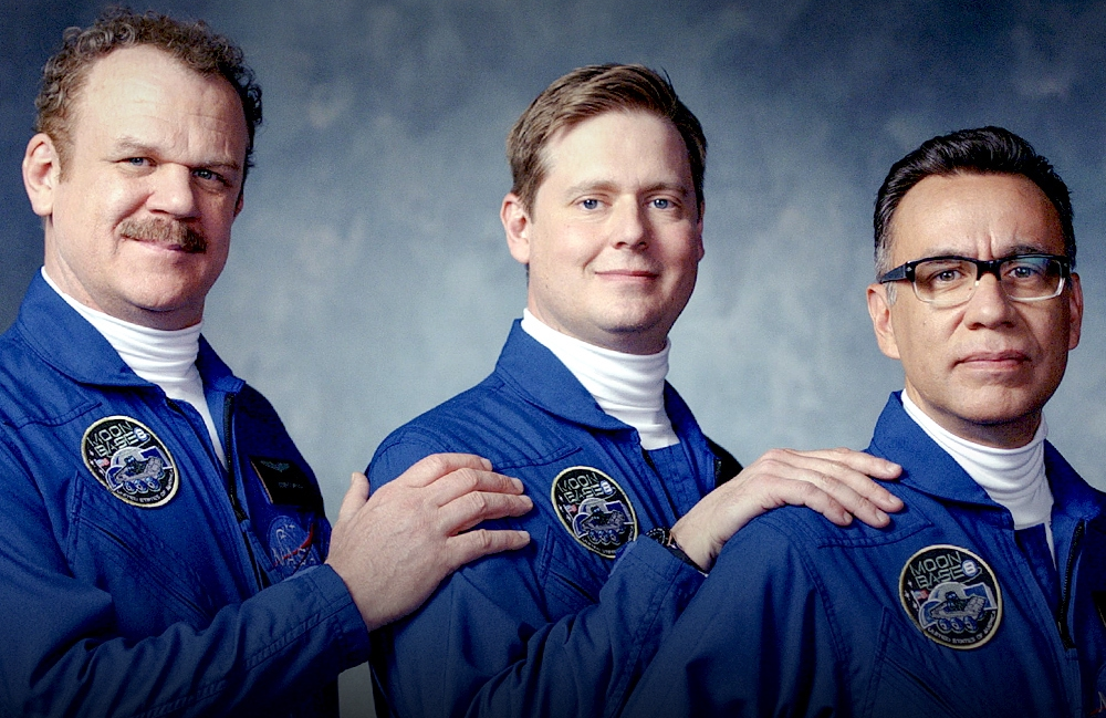 John C. Reilly, Tim Heidecker, and Fred Armisen in Moonbase 8. (Showtime)