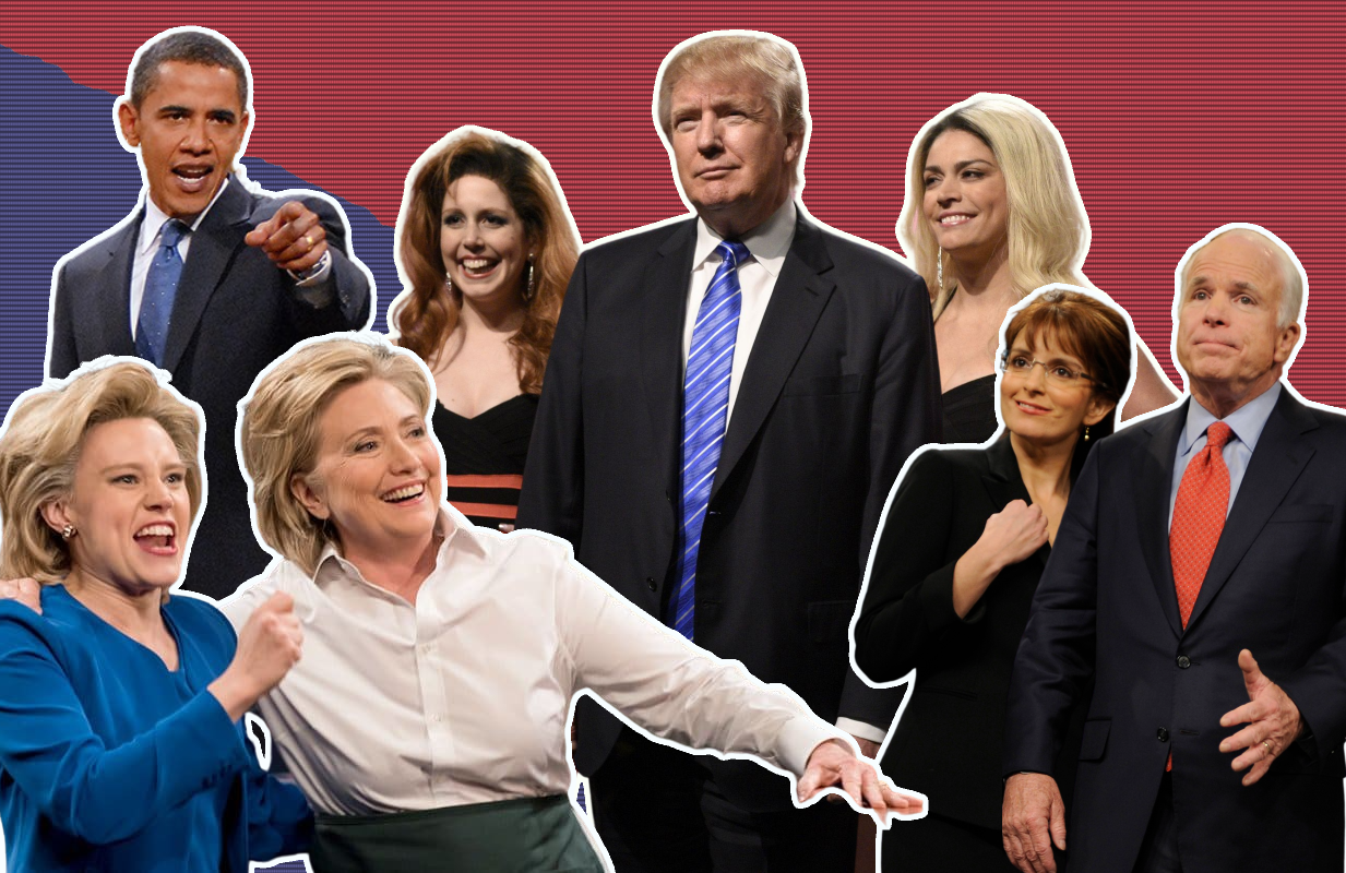 Saturday Night Live's hall of presidential contenders includes Barack Obama, Hillary Clinton, Donald Trump and John McCain. (Photos: NBC)