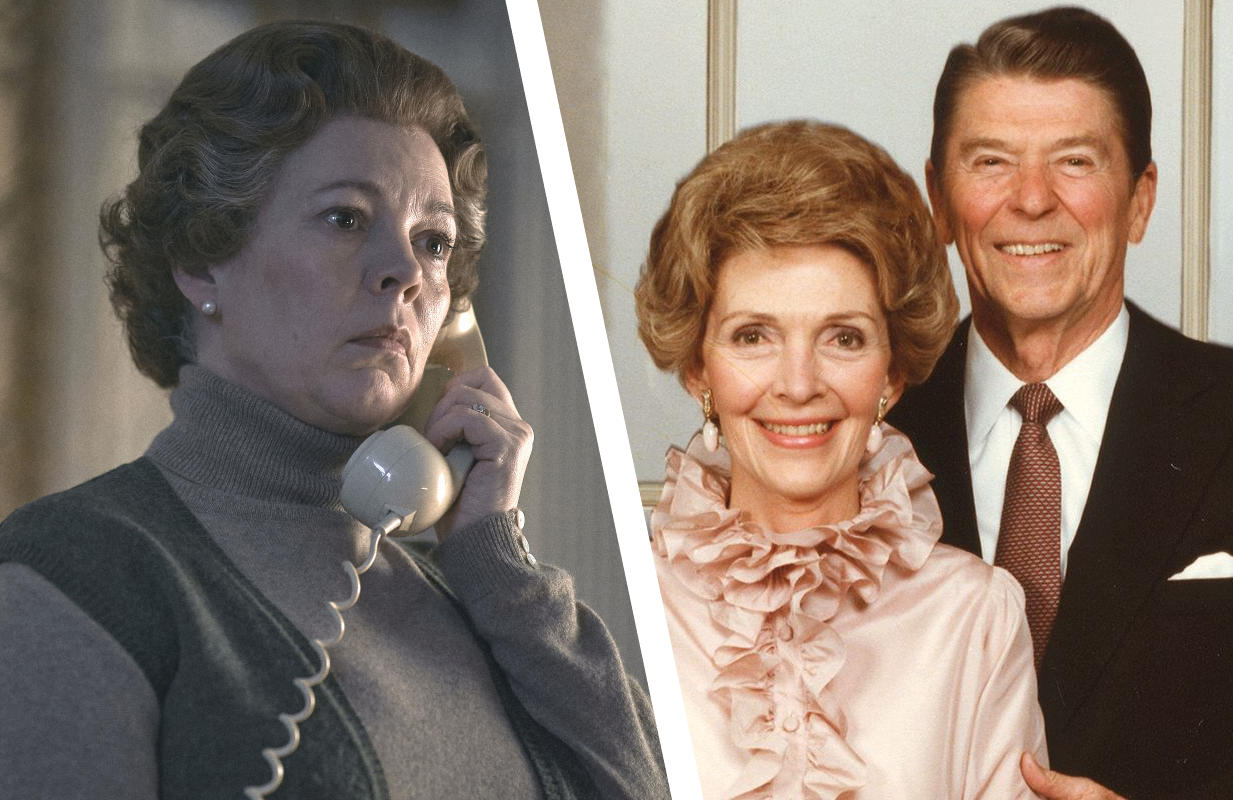 Olivia Colman in The Crown, Nancy and Ronald Reagan in The Reagans. (Photos: Netflix/Showtime)