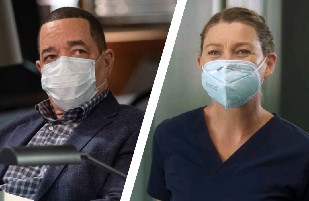 Masked up: Law & Order: SVU's Ice-T and Grey's Anatomy's Ellen Pompeo. (Photos: NBC/ABC)