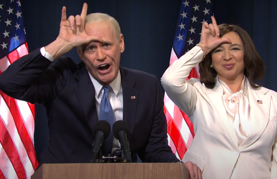 Jim Carrey as Joe Biden and Maya Rudolph as Kamala Harris on Saturday Night Live (NBC)
