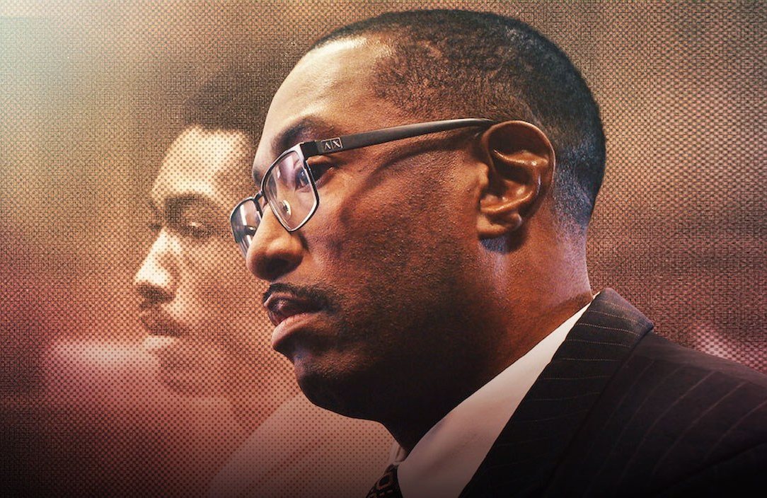 Then and now: Sean Ellis spent 22 years defending himself against a murder he didn't commit. (Photo: Netflix)
