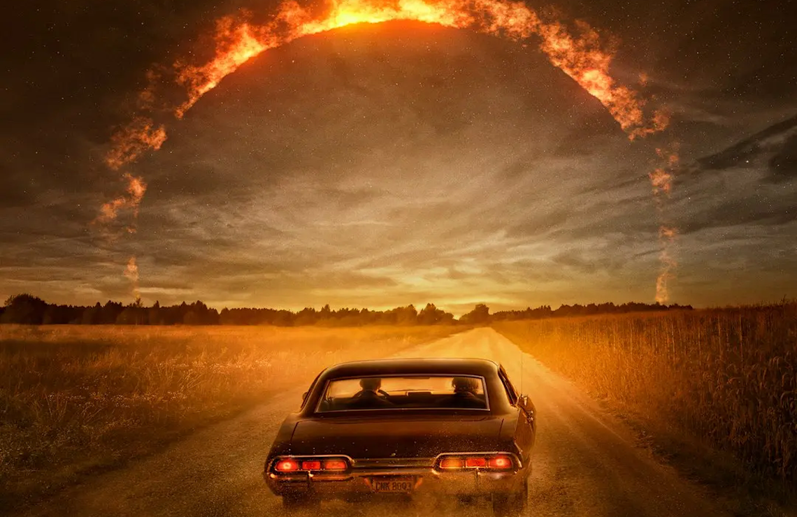 And away they go: Supernatural's Sam and Dean Winchester take their last ride tonight. (The CW)