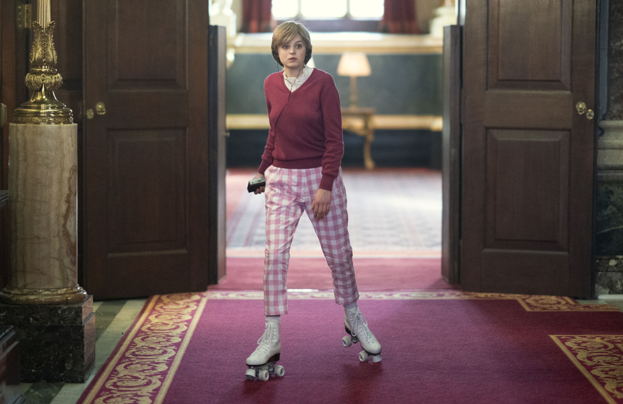 Did a bored and isolated Diana actually roller skate the corridors of Buckingham Palace, as depicted in The Crown Season 4?  (Photo: Des Willie/Netflix)