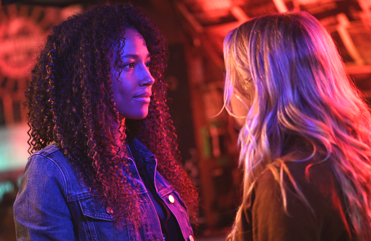 Kylie Bunbury and Katheryn Winnick, not practicing social distancing or face masking, in Big Sky. (ABC)