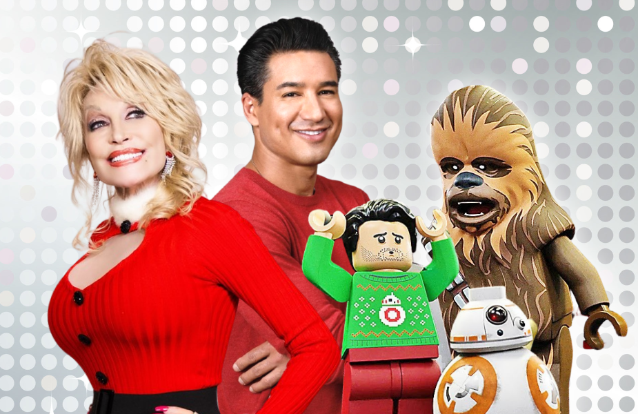 Nevermind the date on your calendar. Dolly Parton's Christmas on the Square, Mario Lopez's Feliz NaviDAD and The LEGO Star Wars Holiday Special are headed to TV this week. (Photos: Netflix, Lifetime, Disney+)