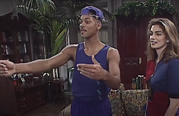 Will Smith and Cindy Crawford on the set of The Fresh Prince of Bel-Air (MTV)
