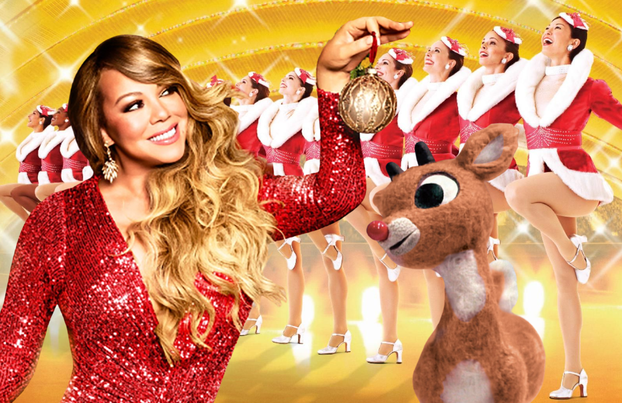 Among this week's holiday highlights: Mariah Carey's Magical Christmas Special, Christmas Spectacular Starring the Radio City Rockettes and Rudolph the Red-Nosed Reindeer. (Photos: Apple TV+, NBC, CBS)