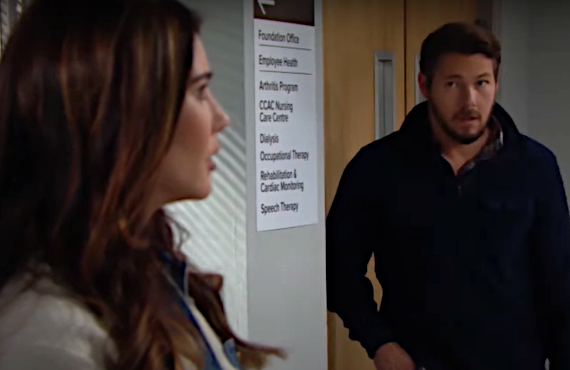 Jacqueline MacInnes Wood and Scott Clifton in The Bold and the Beautiful (CBS)