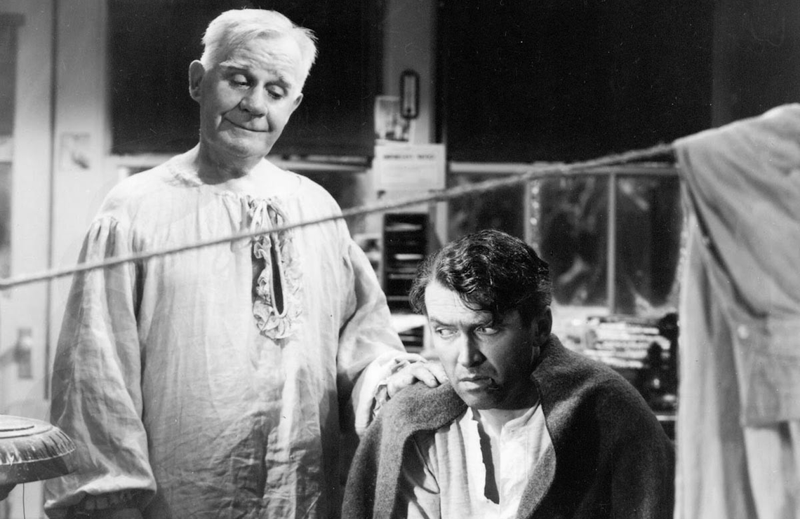 Henry Travers and James Stewart in It's a Wonderful Life. (NBC)