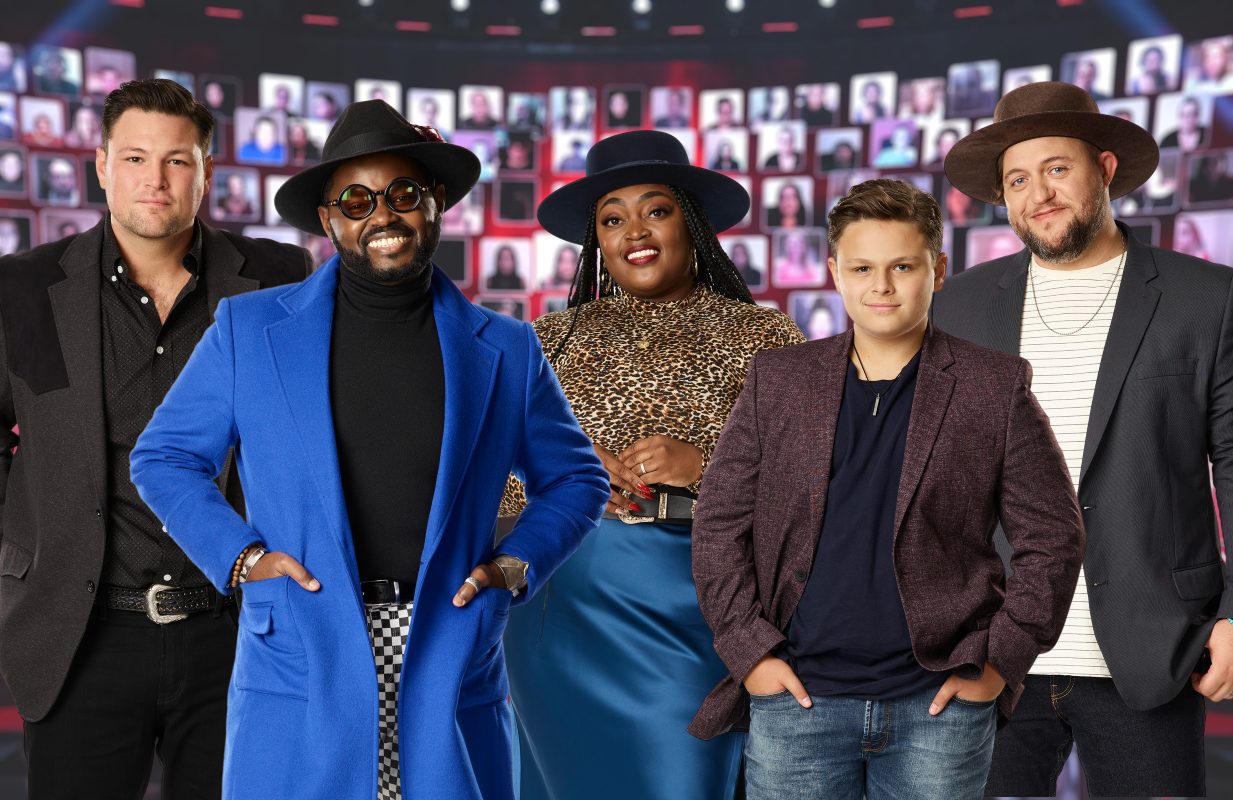 The Voice Season 19's five finalists: Ian Flanigan (Team Blake), John Holiday (Team John Legend), Desz (Team Kelly), Carter Rubin (Team Gwen) and Jim Ranger (Team Blake). (NBC)