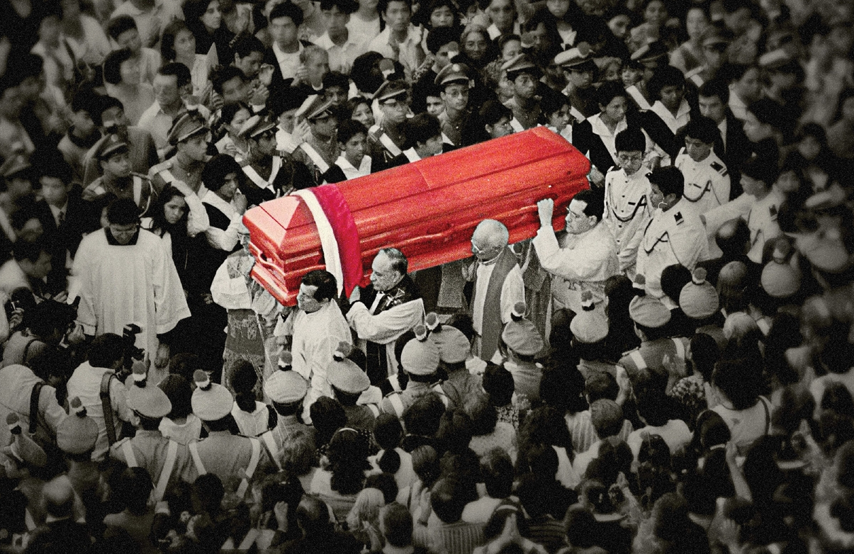 Mourners escort the coffin of the assassinated Bishop Juan Gerardi in The Art Of Political Murder. (HBO)