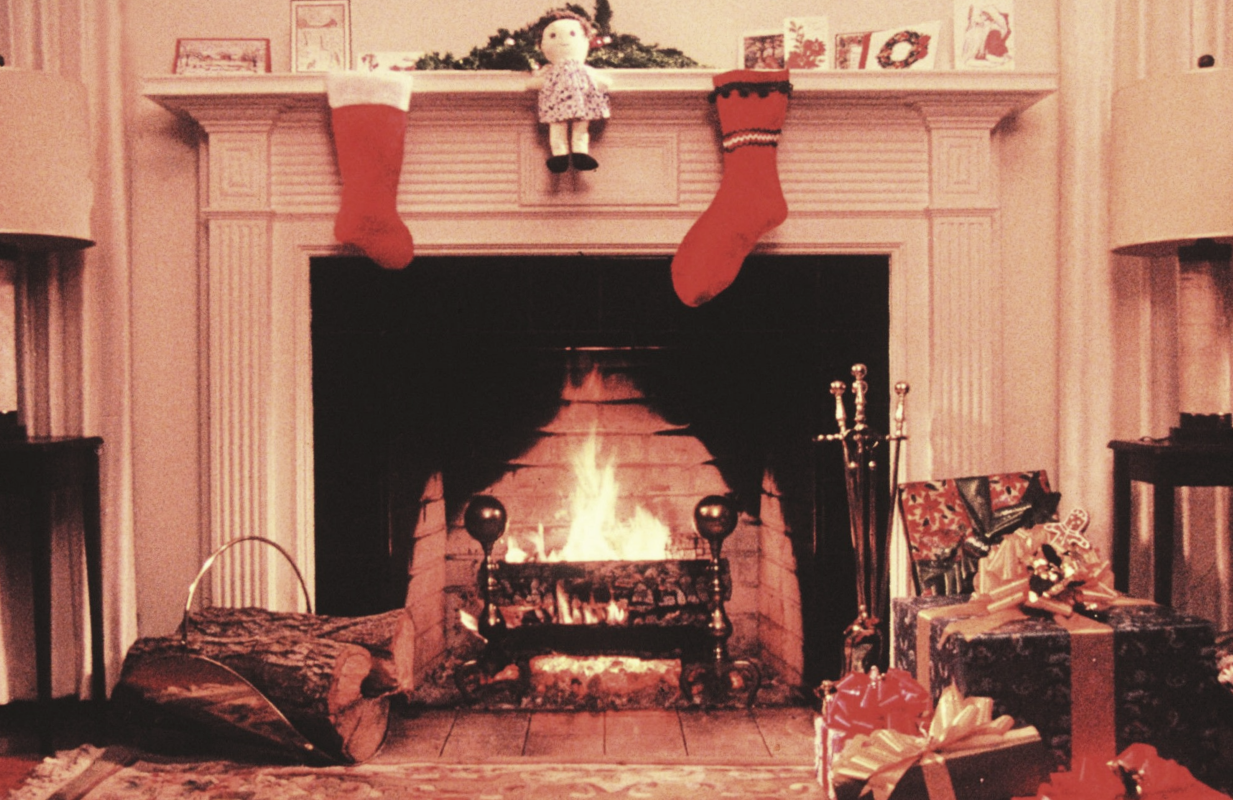 An image from the 1970-era Yule Log that aired for many years on WPIX-TV in New York.
