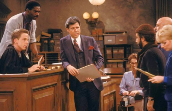 John Larroquette and Harry Anderson on Night Court (NBC)