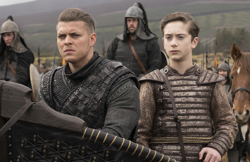 Alex Høgh Andersen and Oran Glynn O'Donovan in Vikings. (History)