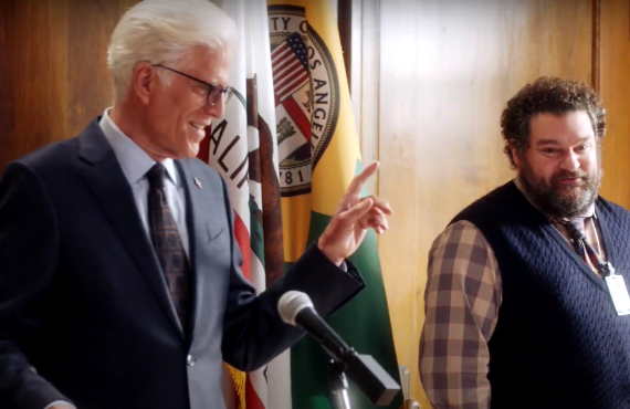 Ted Danson and Bobby Moynihan in Mr. Mayor (NBC)