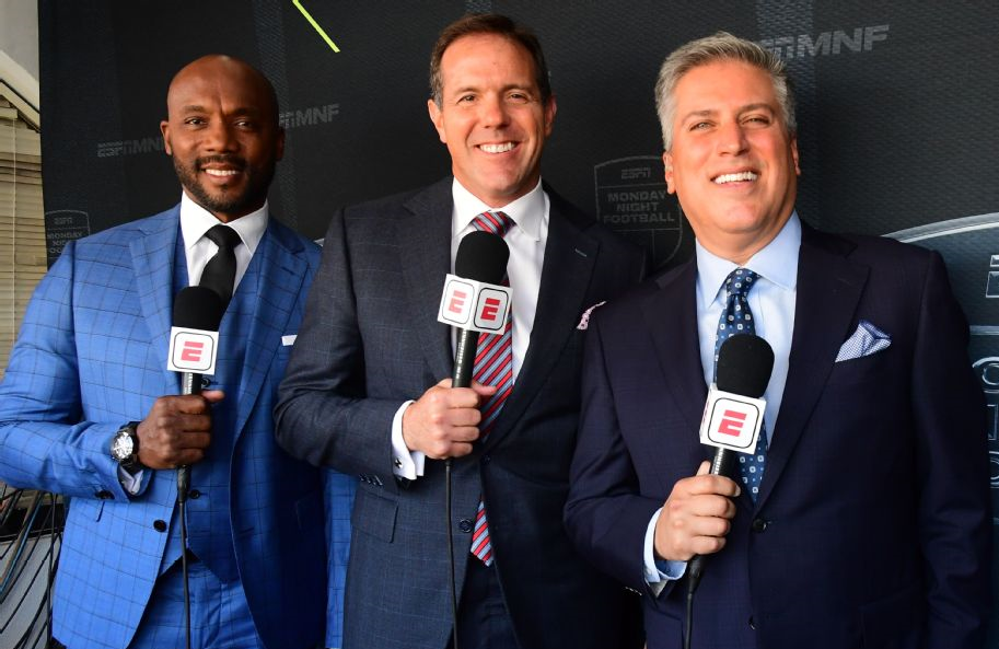 The current Monday Night Football broadcast booth — Louis Riddick, Brian Griese and Steve Levy — will likely be shaken up, again. (Photo: ESPN)