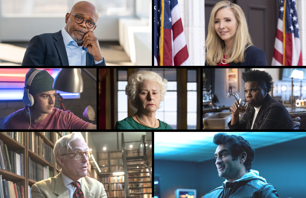 Samuel L Jackson, Lisa Kudrow, Joe Kerry, Tracey Ullman, Leslie Jones, Hugh Grant and Kumail Nanjiany in Death to 2020. (Netflix)