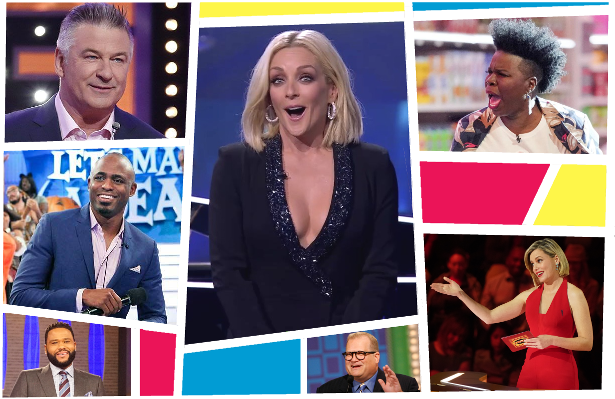 Jane Krakowski (center) joins a crowded field of celebrity game show hosts as Name That Tunes premieres on FOX. (Photos: ABC, CBS, FOX)
