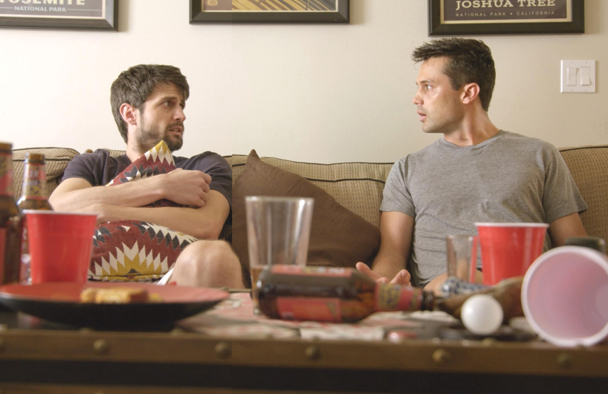 James Lafferty and Stephen Colletti in Everyone Is Doing Great. (Hulu)
