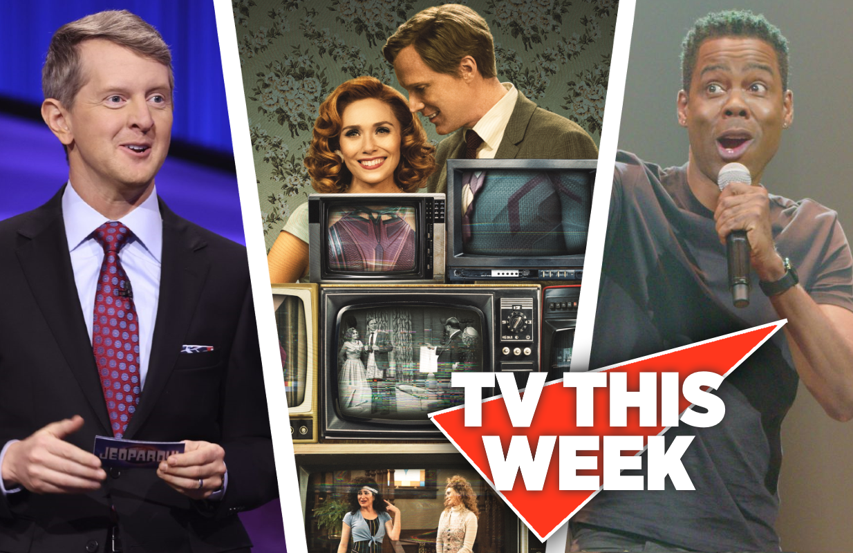 TV This Week: Jeopardy!, WandaVision and Chris Rock Total Blackout: The Tamborine Extended Cut. (Photos: Sony Pictures Television, Disney+ and Netflix)