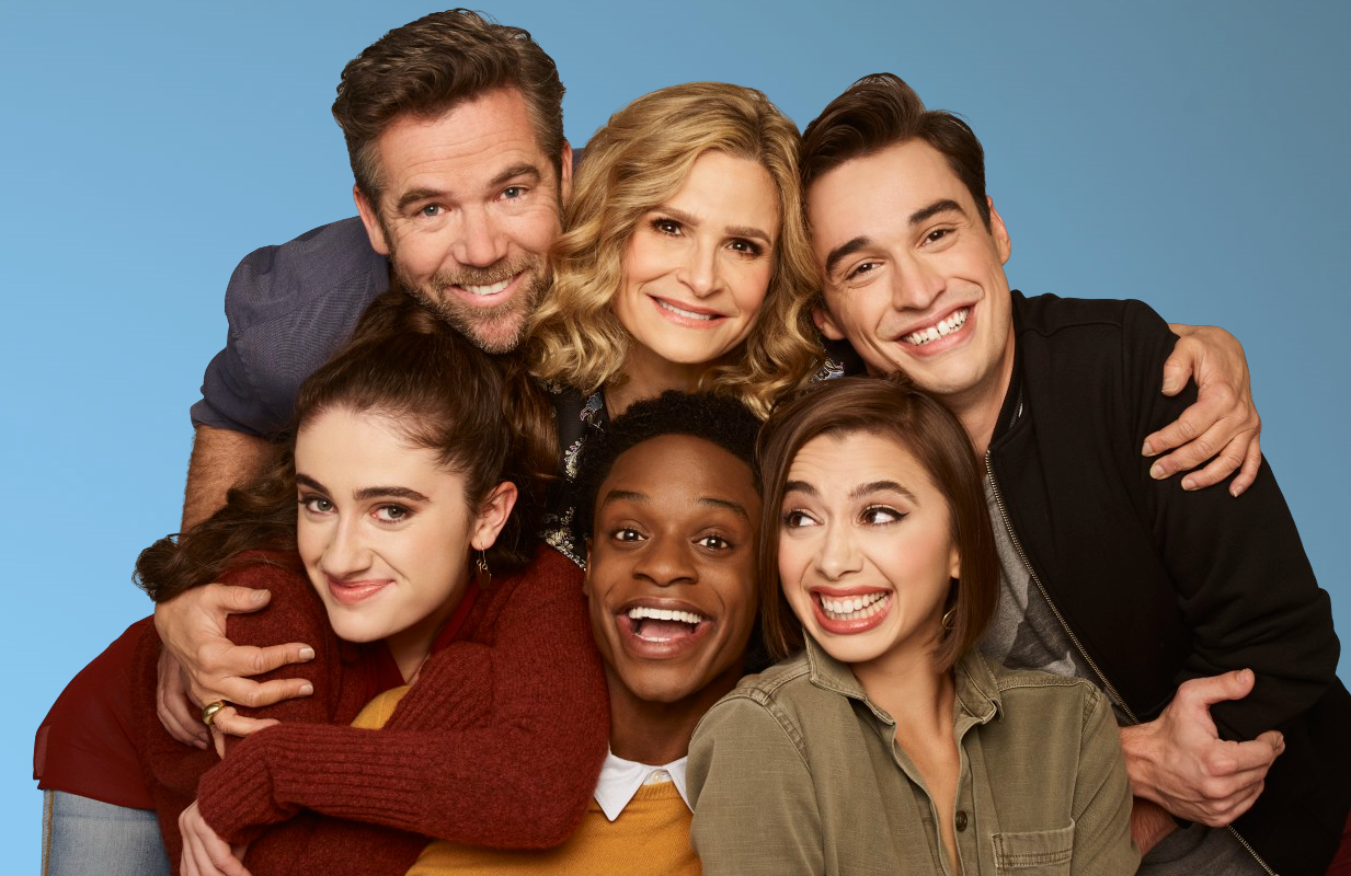 Rachel Sennott, Patrick Brammall, Austin Crute, Kyra Sedgwick, Emma Caymares, and Joey Bragg as in Call Your Mother. (ABC/Brian Bowen Smith)
