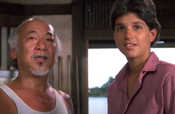 Pat Morita and Ralph Macchio in The Karate Kid Part II