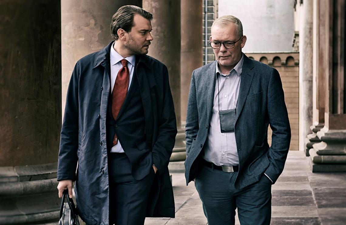 Pilou Asbæk and Søren Malling in The Investigation. (Henrik Ohsten/HBO)