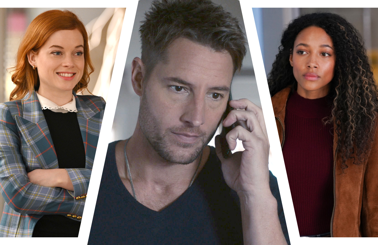 Jane Levy in Zoey's Extraordinary Playlist, Justin Hartley in This is Us, and  Kylie Bunbury in Big Sky. (Photos NBC, ABC)
