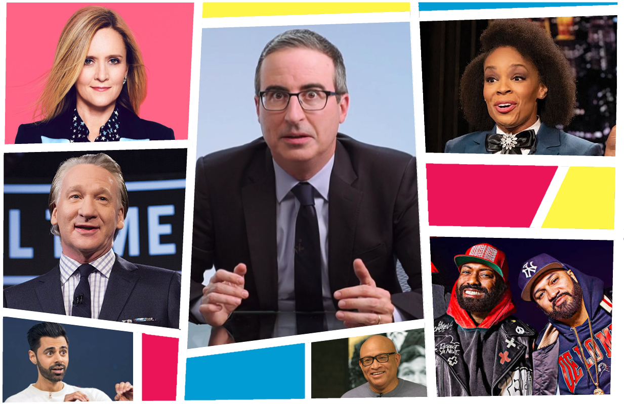 Hosts like Samantha Bee, Amber Ruffin, John Oliver and Desus & Mero are redefining late night. (Photos: TBS, Peacock, HBO, Netflix, Showtime)